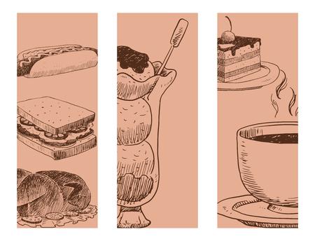 Food sketch vector banner natural menu restaurant fresh hand drawn product and kitchen doodle meal cooking cuisine sketchy organic illustration. Vintage fresh food sketch tasty product.