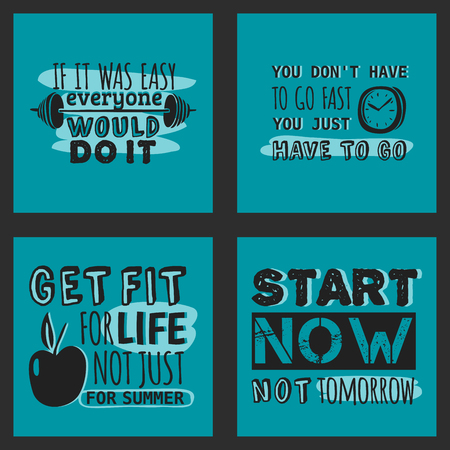 Sport motivational logo vector design hand drawn element banner gym crossfit trainings motivation text lettering illustration. Work positive motivate concept message typographic workout lifestyle. Ilustração