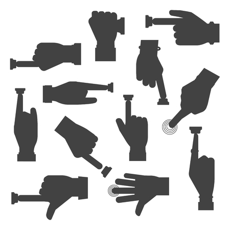 Hand press button vector silhouette finger control start up arm push pointer cursor target gesture internet human body part illustration. Touch concept hand press button click connection choosing.