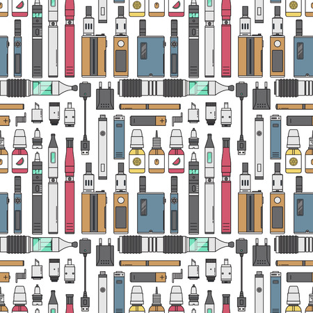 Vape device vector cigarette vaporizer vapor juice vape bottle flavor illustration battery coil. Trend electronic nicotine liquid. Smoking vape atomizer device e-liquid seamless pattern background. 写真素材 - 105109175