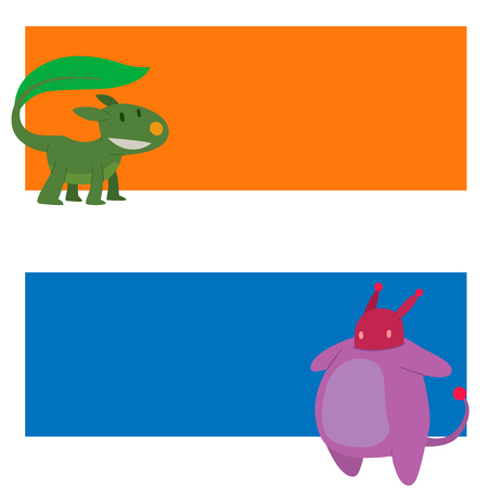 Monster character vector cards funny design element humour emoticon fantasy monsters unique expression sticker. Alien sticker vector fantasy monsters paint crazy animals.  イラスト・ベクター素材