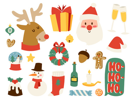 Christmas icons vector symbols for greeting card winter celebration design. Merry christmas holidays winter decoration icons. Hand drawn New Year greeting card christmas symbols.