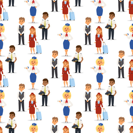 Pilots and stewardess vector airline character plane personnel staff air hostess flight attendants people command. Flight attendants captain seamless pattern background pilots and stewardess. Reklamní fotografie