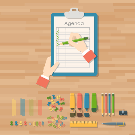 Agenda list vector business paper clipboard in flat style self-adhesive checklist notes schedule calendar planner organizer article illustration. Make wishlist and shopping list plan to do just. Stock Illustration - 105144295