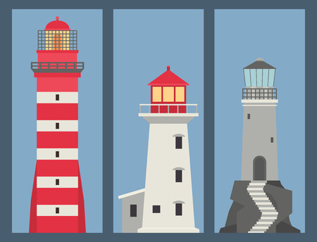 Lighthouses vector banner flat searchlight towers for maritime navigation guidance ocean beacon light safety security symbol illustration.