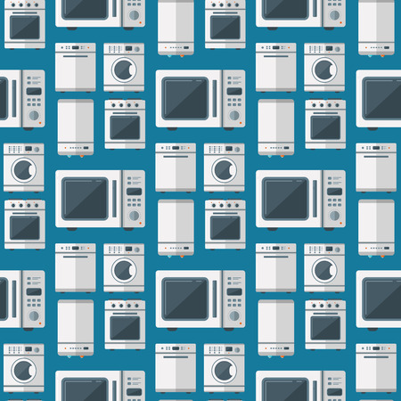 Home appliances vector domestic household equipment kitchen domestic technology homework tools illustration. Cleaning laundry home appliances household equipment seamless pattern background.