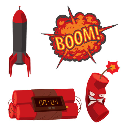 Bomba dinamita fusible ilustración vectorial granada ataque bola de poder ardiente detonación explosión fuego militar destrucción diseño agresión. Ilustración de vector