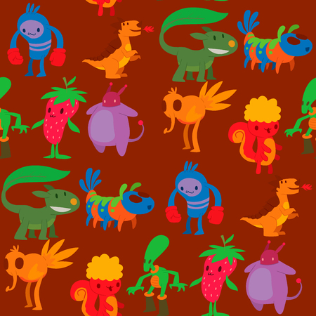 Monster character vector funny design humour emoticon fantasy monsters unique expression sticker. Alien seamless pattern background fantasy monsters paint crazy animals.