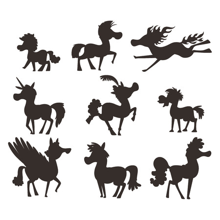 Horse pony stallion vector silhouette breeds color farm equestrian mammal domestic animal mane zoo character illustration. Cartoon pet design horseback mare many horse pony style.