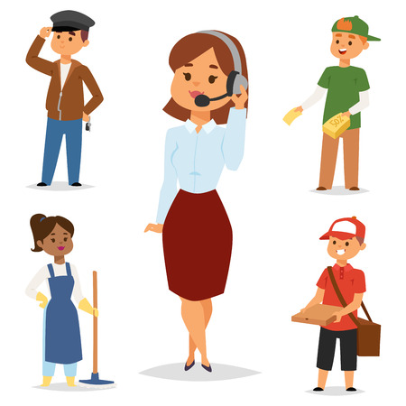 People part-time job professions vector set characters temporary job recruitment concept. Different workers or time unemployed. Young career start boys and girls part time workers opportunity looking. Stockfoto - 109860343