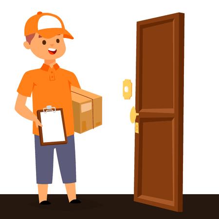 Mensajeros de los trabajadores y clientes del servicio de repartidor que entregan caracteres del hombre carteros de la tienda que traen paquetes con documentos de cajas ilustración vectorial. Transporte masculino cartero trabajador.
