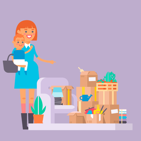 Happy young woman vector flat people moving in new house movement apartment together. Happy young girl moving service. Woman carrying boxes together with family person unpacking box character set. Çizim