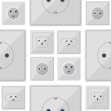 Bouchons électriques pile illustration de prise de courant prises électriques prises européennes et américaines et l'icône de l'intérieur de l'appareil en Asie. Câble électrique Cordon de raccordement fiches électriques prises double américain.