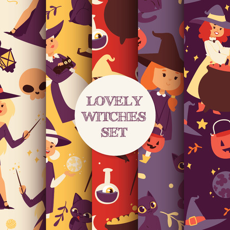 Cute little Halloween girl witchs with broom cartoon set of happy Halloween greeting invintation poster card vector illustration party design print magic card fantasy young girls character costume hat vector illustration.