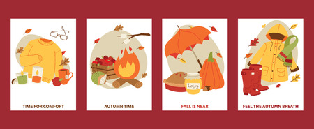 Autumn symbols banner items card with clothes related to autumn. Rainy cold time to celebrate Happy gold and yellow autumn time. Umbrella, leaf fall, medicines, foliage, rain.