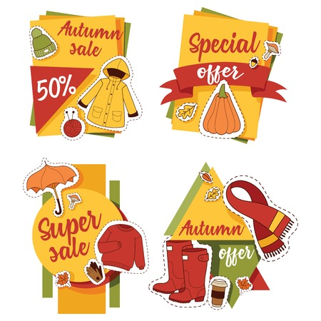 Autumn sale offer banner for website banner items card with clothes related to autumn. Rainy cold time to celebrate Happy gold and yellow autumn time. Umbrella, leaf fall, medicines, foliage, rain.