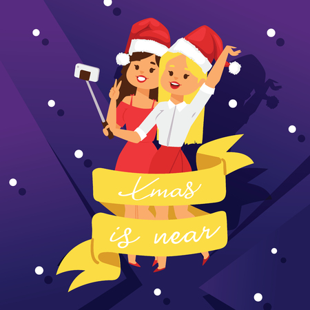 Christmas invitation party vector poster card two young happy girlfriends design Xmas holiday celebration clipart 2019 New Year colors printable dance music night club concert party poster. Banque d'images - 109722279