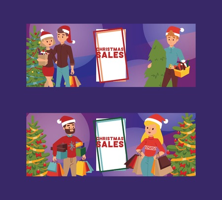 Christmas winter sale vector happy smile family man with woman together shopping bags 2019 Xmas shopping big offer banner to buy gifts advertising poster flyer illustration market sale shopping. Stock Vector - 109722280