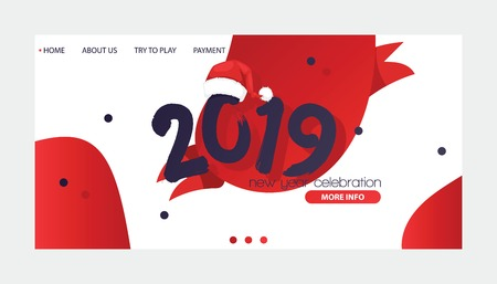 2019 happy New Year text Christmass for happy Holiday website banner horisontal poster calendar print colored design Xmas new web design illustration for company greeting card. Illustration