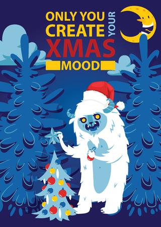 Christmas night forest bigfoot monster spooky greeting card vector background banner holidays winter xmas hand draw congratulation New Year 2019 website banner invitation poster illustration.