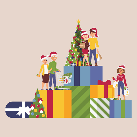 Christmas winter sale vector happy smile family man with woman together gift boxes shopping bags 2019 Xmas shopping big offer banner to buy gifts advertising poster illustration market sale shopping.