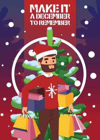 Christmas winter sale vector happy smile beard face boy man with shopping bags 2019 Xmas shopping big offer banner to buy gifts advertising poster vecrtical flyer illustration market sale shopping.