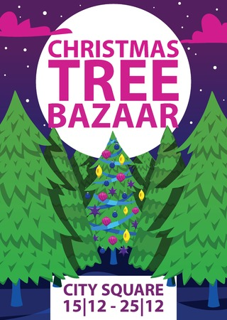 Christmas winter tree bazaar sale vector saleable wintertime Xmas advertisement shopping time big Sales offer banner to buy gifts advertising flyer vector illustration. Stock Vector - 108807943