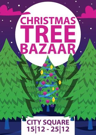 Christmas winter tree bazaar sale vector saleable wintertime Xmas advertisement shopping time big Sales offer banner to buy gifts advertising flyer vector illustration. Illusztráció