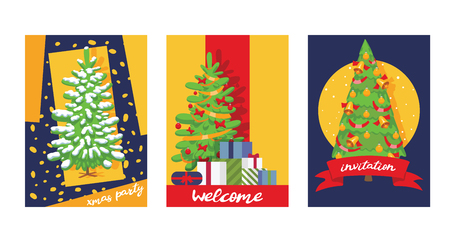 Christmas winter tree bazaar sale vector saleable wintertime Xmas advertisement shopping time big Sales offer banner to buy gifts advertising flyer vector illustration. Çizim