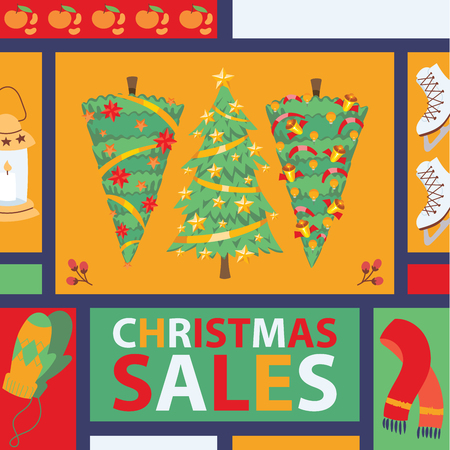 Christmas winter tree bazaar sale vector saleable wintertime Xmas advertisement shopping time big Sales offer banner to buy gifts advertising flyer vector illustration. Illustration