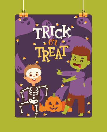 Halloween kidscostume trick or treat party costumes vector characters. Little child people Halloween bat, candy, ghost, zombie kids costume. Childhood fun cartoon boys and girls carnival party website banner. Illustration