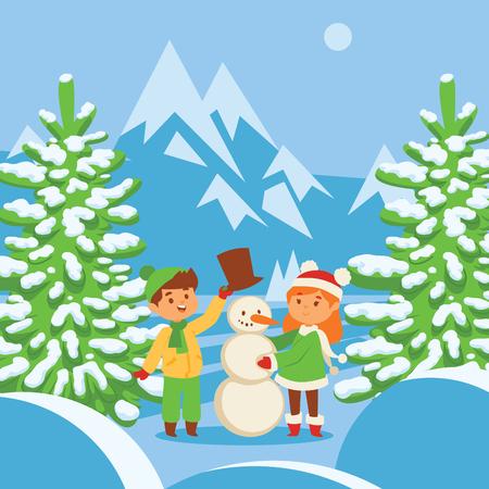 Christmas kids playing winter games skating, skiing, sledding, girl dresses up Christmas tree, boy and girl makes a snow man, children playing snowballs. Cartoon New Year winter holidays background. Illustration