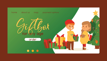 Christmas 2019 Happy New Year greeting card vector boy and girl friends celebrate together background banner holidays winter xmas hand draw congratulation New Year poster or web banner illustration. Illustration