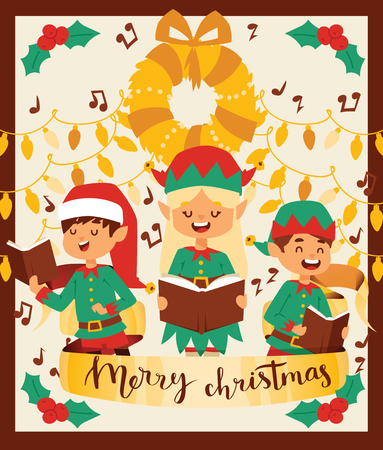 Santa Claus elf kids helpers vector illustration children celebrate Cristmas party. Santa helpers in traditional costume Xmas 2019 background. Elf christmas kids. Illustration