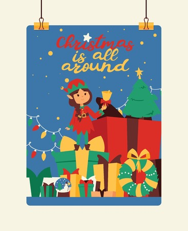 Santa Claus elf kids helpers vector illustration children celebrate Cristmas party. Santa helpers in traditional costume Xmas 2019 background. Elf christmas kids. 向量圖像