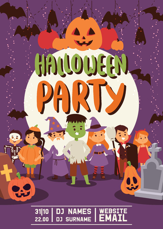 Halloween kids costume trick or treat party costumes vector characters. Little child people Halloween bat, candy, ghost, zombie kids costume fun cartoon boys and girls carnival party website banner Vector Illustration