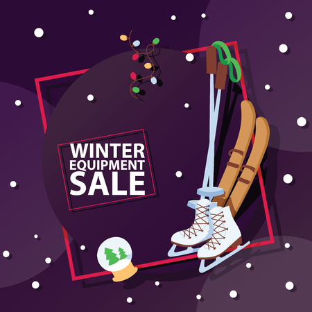 Christmas winter sport goods equipment sale vector saleable wintertime Xmas advertisement shopping time big Sales offer banner to buy gifts advertising flyer vector illustration