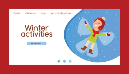 Christmas kid lies on the snow in the pose of an angel playing winter games girl dresses up Christmas boy cartoon New Year website horisontal banner winter holidays background