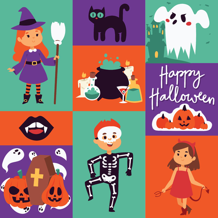 Halloween kids costume trick or treat party costumes vector characters. Little child people Halloween bat, candy, ghost, zombie kids costume fun cartoon boys and girls carnival party website banner Stock Photo