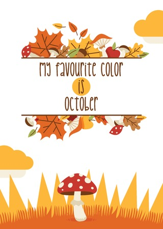 Vector autumn time thanksgiving decoration elements. Happy thanksgiving lettering items invitation card. Pumpkin, mushrooms, leaves printable items with autumn elements. Website sale offer time card october seasonal design.