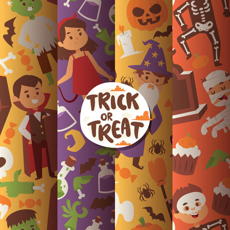 Halloween kids costume trick or treat party costumes vector characters. Little child people Halloween bat, candy, ghost, zombie kids costume fun cartoon boys and girls carnival party website banner Illustration