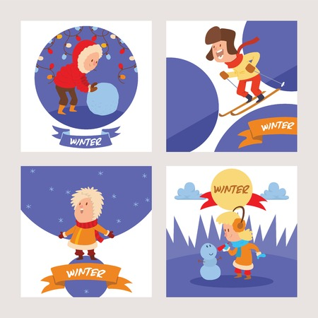 Christmas kids playing winter games skating, skiing, sledding, girl dresses up Christmas tree, boy and girl makes a snow man, children playing snowballs. Cartoon New Year winter holidays background