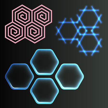 Hexagon design geometric elements honeycombs abstract geometric modern business technologies vector illustration.
