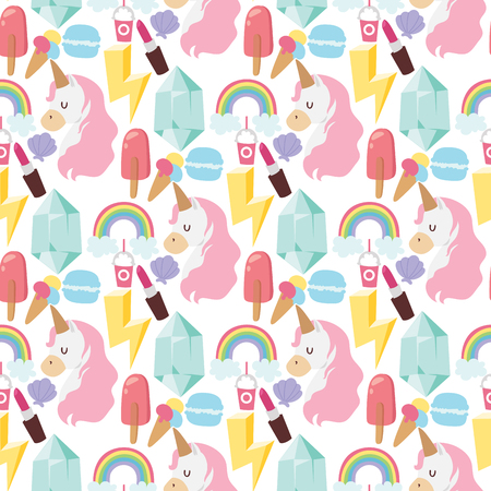 Hipster patches elements hand drawn cute fashionable stickers doodle pop art sketch pins comic seamless pattern background vector ilustration. Embroidery sketch badge accessory. Reklamní fotografie - 128168241