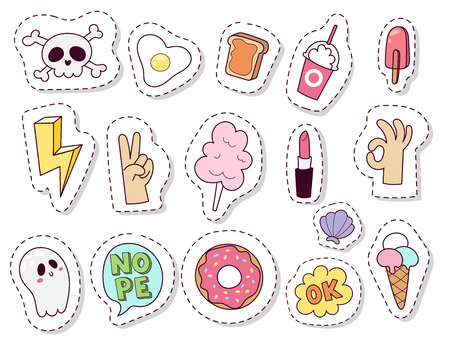 Hipster patches elements hand drawn cute fashionable stickers doodle pop art sketch pins and comic badges vector ilustration. Embroidery sketch badge accessory. Иллюстрация