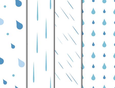 La pluie tombe vecteur de fond transparente motif. Conception de temps élégant abstrait de goutte de pluie de nature. Toile de fond de texture de papier peint eau bleue graphique.