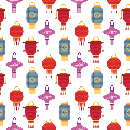 Chinese lantern light paper holiday celebrate graphic lamp celebration traditional festival symbols. Luck traditionfestival ornament paper seamless pattern background. Stock Photo