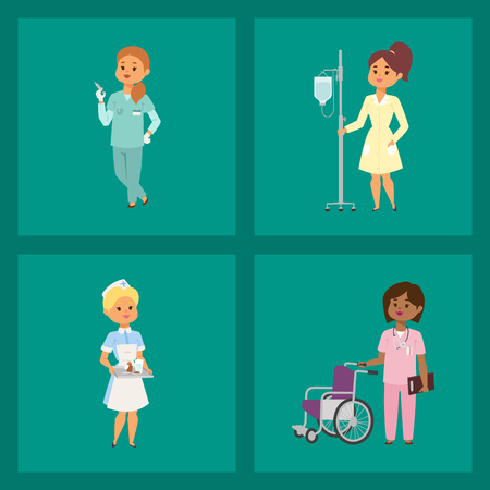 Doctor nurse character vector medical woman staff flat design hospital team people doctorate illustration Flat style different doctor character. Professional cartoon medical human worker. Stock Illustratie