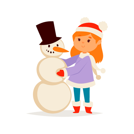 Christmas kid girl vector character playing winter games winter children holidays christmas snowman cartoon new year xmas kid Banque d'images - 109430510