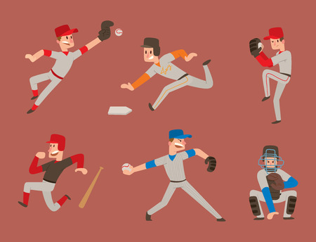 Baseball team player vector sport man in uniform game poses situation professional league sporty character winner illustration. Stock Photo